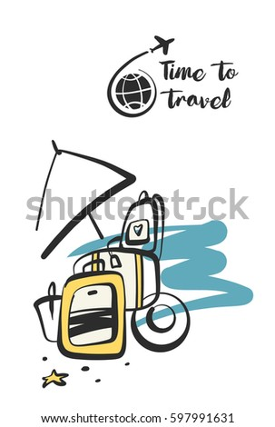Freehand drawn concept image with text. Time to summer travel tour. Element  design corporate