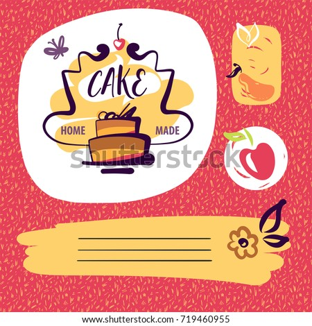 Freehand drawn element design poster, banner, logo corporate identity for home made cake. Sketch vector illustration for blog with home recipe sweet cake.