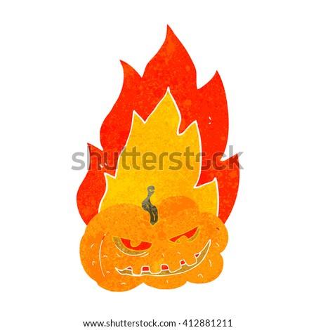 freehand drawn retro cartoon flaming halloween pumpkin - stock vector
