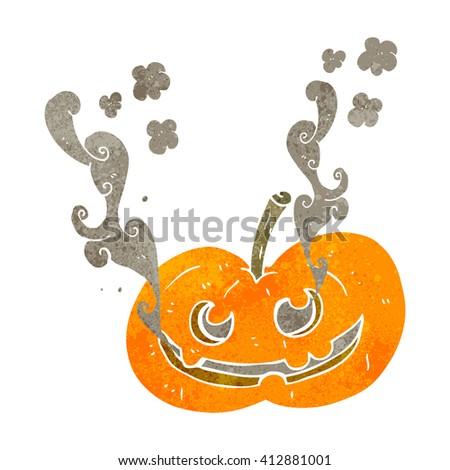 freehand drawn retro cartoon halloween pumpkin - stock vector