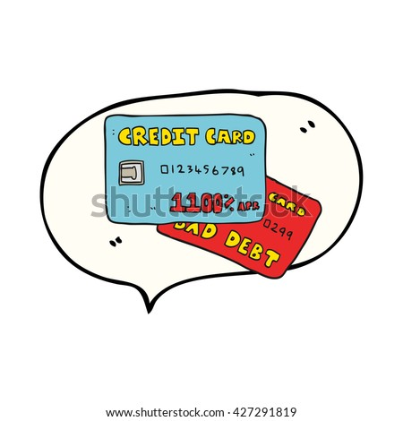freehand drawn speech bubble cartoon credit cards - stock vector