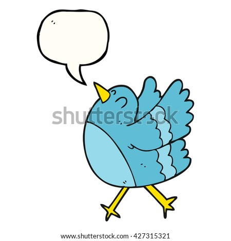 freehand drawn speech bubble cartoon happy bird - stock vector