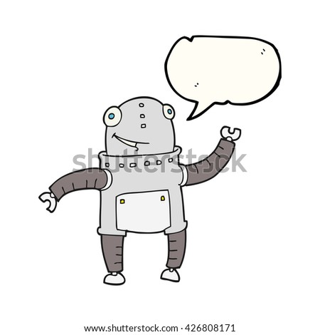 freehand drawn speech bubble cartoon robot