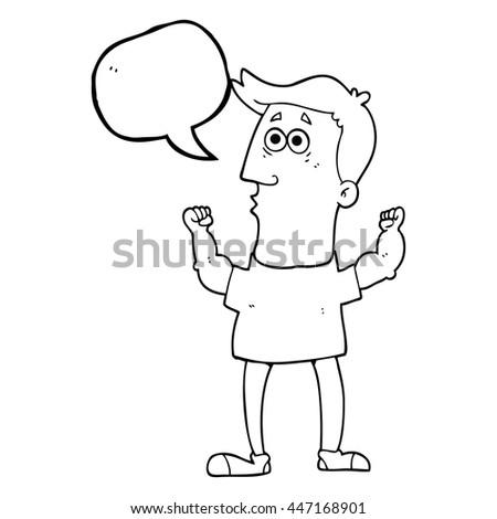 freehand drawn speech bubble cartoon surprised man flexing biceps - stock vector