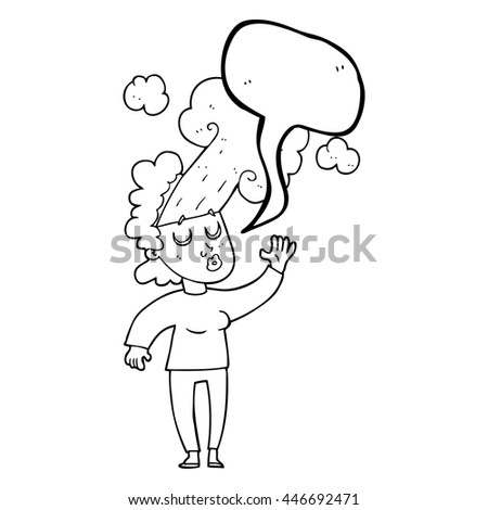 freehand drawn speech bubble cartoon woman letting off steam - stock vector