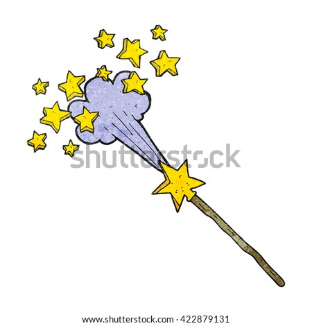 freehand drawn texture cartoon magic wand - stock vector