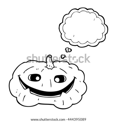 freehand drawn thought bubble cartoon pumpkin - stock vector