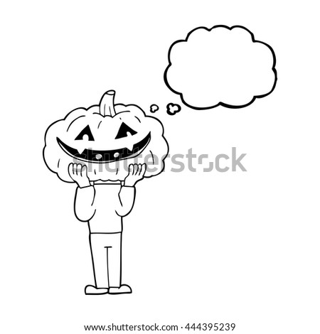 freehand drawn thought bubble cartoon pumpkin head halloween costume - stock vector