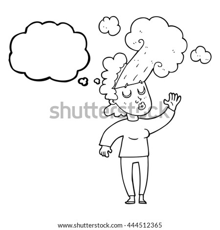freehand drawn thought bubble cartoon woman letting off steam - stock vector