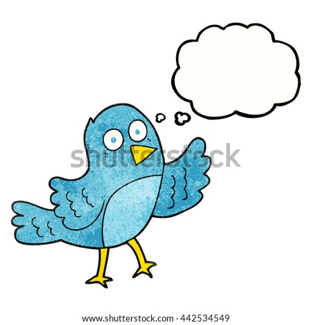 freehand drawn thought bubble textured cartoon bird - stock vector