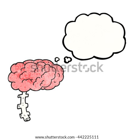 freehand drawn thought bubble textured cartoon brain - stock vector