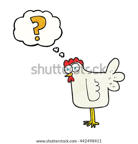 freehand drawn thought bubble textured cartoon confused chicken