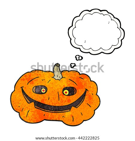 freehand drawn thought bubble textured cartoon pumpkin - stock vector