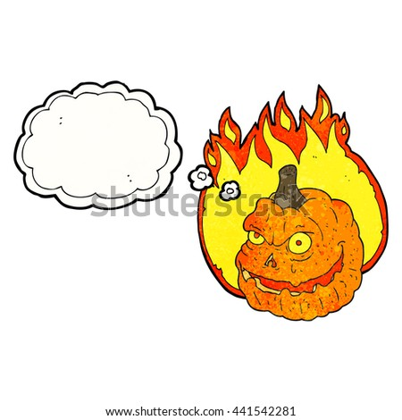 freehand drawn thought bubble textured cartoon spooky pumpkin - stock vector