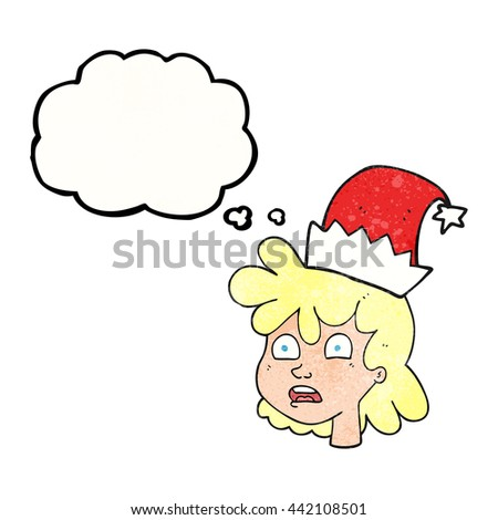 freehand drawn thought bubble textured cartoon stressed woman wearing santa hat