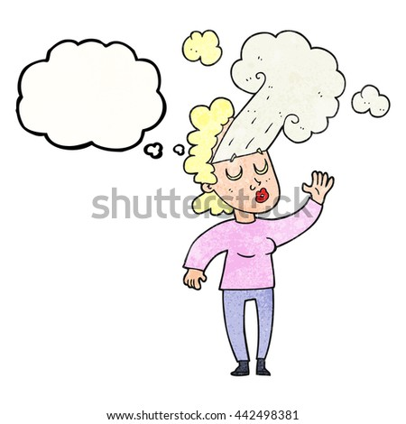 freehand drawn thought bubble textured cartoon woman letting off steam - stock vector