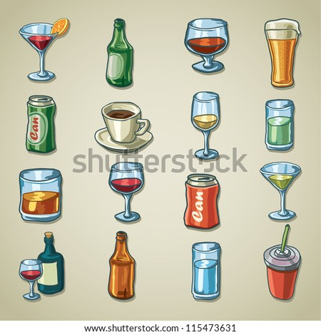 Freehand icons - Drinks - stock vector