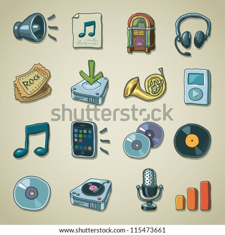 Freehand icons - Music - stock vector