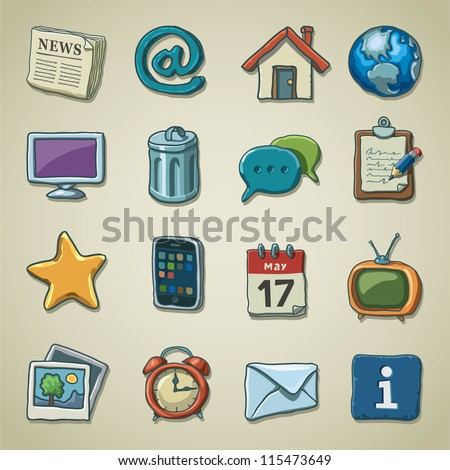 Freehand icons - Web and multimedia - stock vector