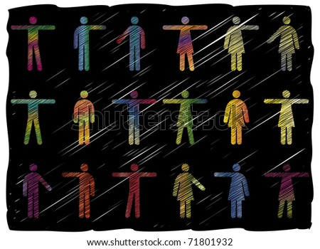 Freehand Line Art Vector Pictograms of Men and Women - stock vector