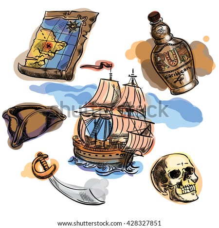 Freehand pirate set for your design.Map, tricorn, cutlass, skull, ship, bottle of rum