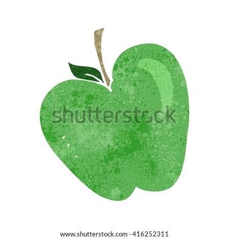 freehand retro cartoon apple - stock vector