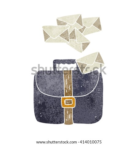 freehand retro cartoon briefcase spilling letters - stock vector
