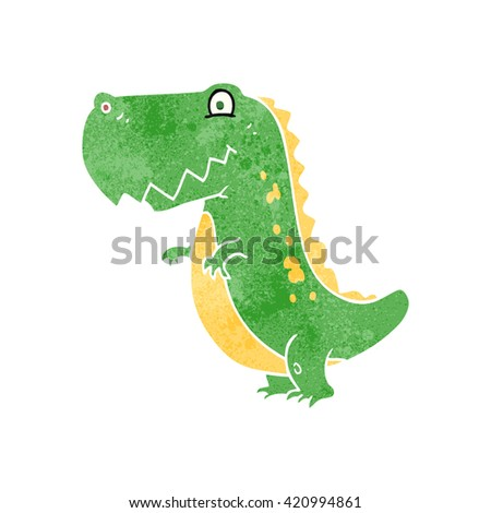 freehand retro cartoon dinosaur