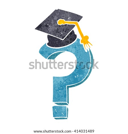 freehand retro cartoon graduation cap on question mark - stock vector