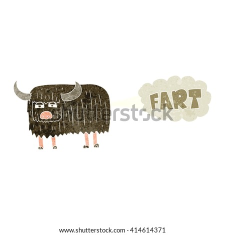 freehand retro cartoon hairy cow farting - stock vector