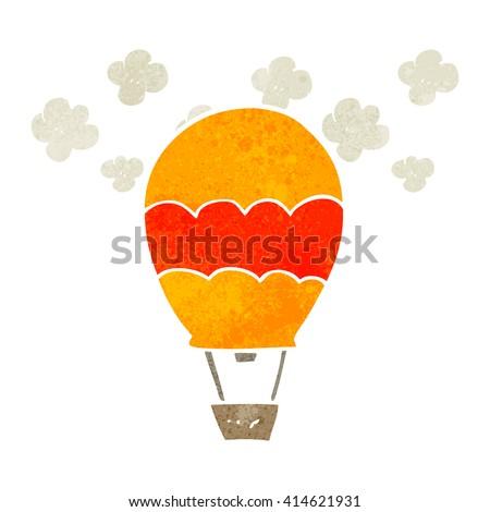 freehand retro cartoon hot air balloon - stock vector