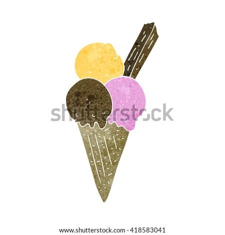freehand retro cartoon ice cream cone - stock vector