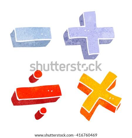 freehand retro cartoon math symbols - stock vector