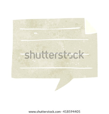 freehand retro cartoon notes speech bubble - stock vector