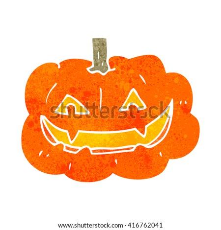 freehand retro cartoon spooky pumpkin - stock vector