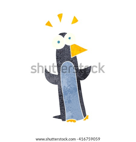 freehand retro cartoon surprised penguin - stock vector