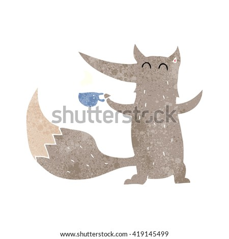 freehand retro cartoon wolf with coffee cup - stock vector