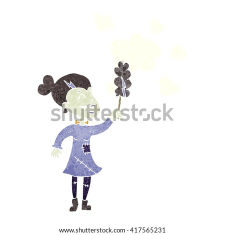 freehand retro cartoon zombie woman dusting - stock vector