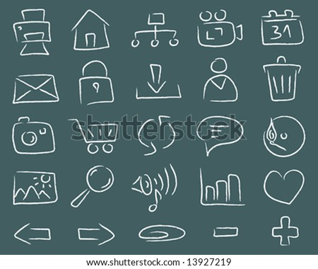 freehand series > blackboard icons - stock vector