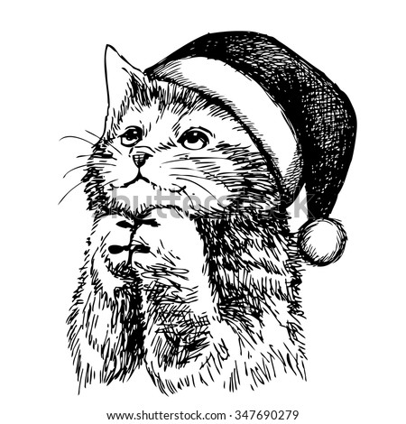 freehand sketch illustration of kitten cat with christmas hat, doodle hand drawn, christmas pet - stock vector