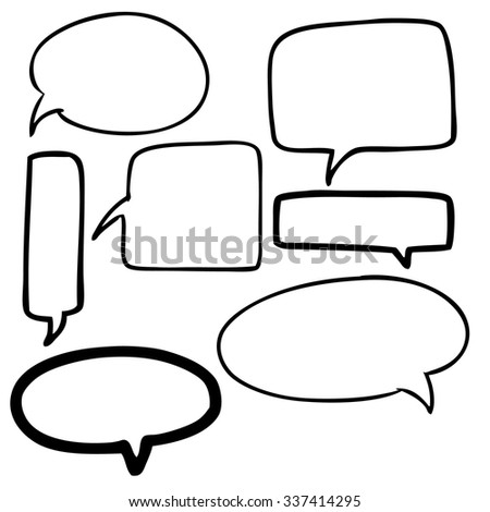 freehand sketch illustration of set of speech bubbles icon, doodle hand drawn
