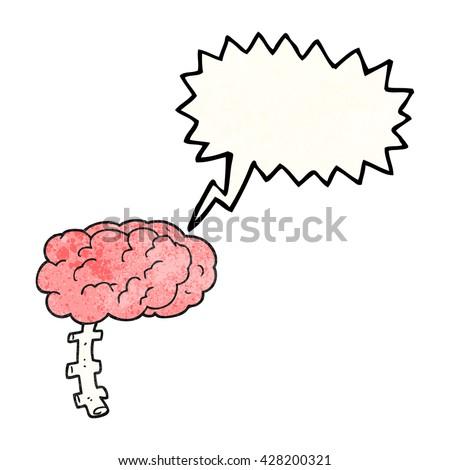 freehand speech bubble textured cartoon brain - stock vector