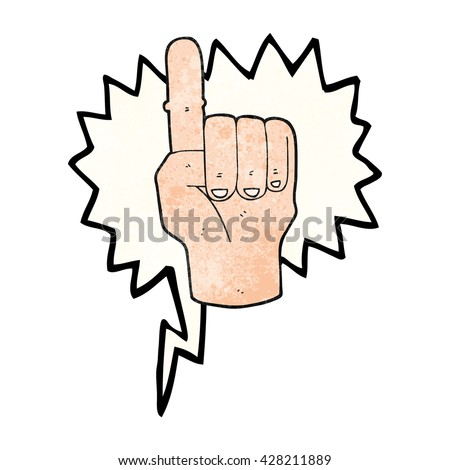 freehand speech bubble textured cartoon pointing finger - stock vector