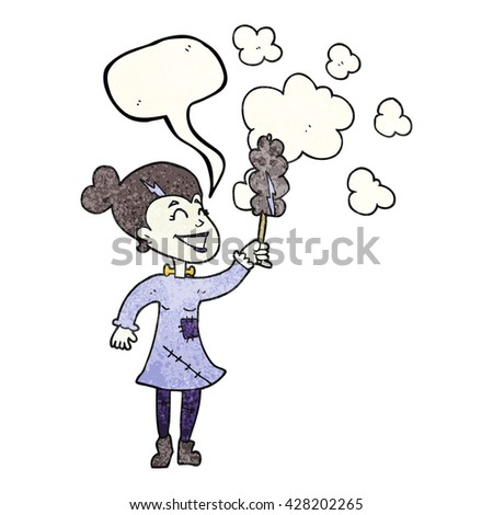 freehand speech bubble textured cartoon zombie woman dusting - stock vector