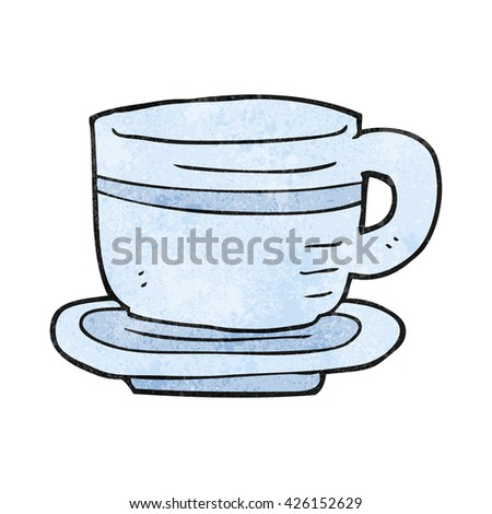 freehand textured cartoon cup and saucer