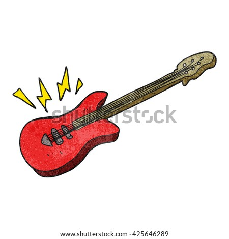 freehand textured cartoon electric guitar - stock vector
