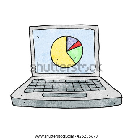 freehand textured cartoon laptop computer with pie chart