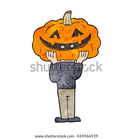 freehand textured cartoon pumpkin head halloween costume - stock vector