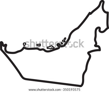 Freehand UAE map sketch on white background