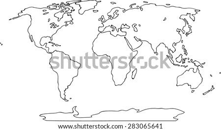World map sketch on scribble drawing